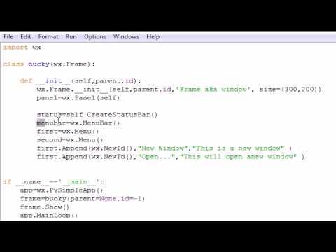 wxPython Programming Tutorial - 3 - Creating a Menu Bar