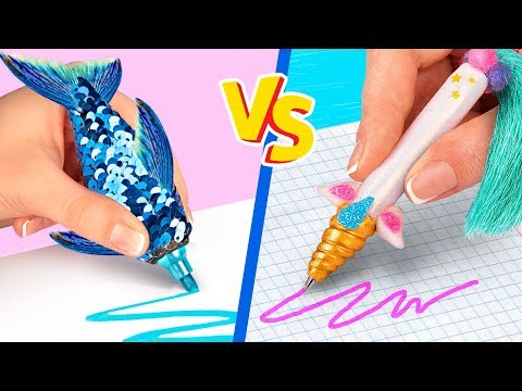 10 DIY Einhorn Schulsachen vs Meerjungfrauen Schulsachen! Challenge!