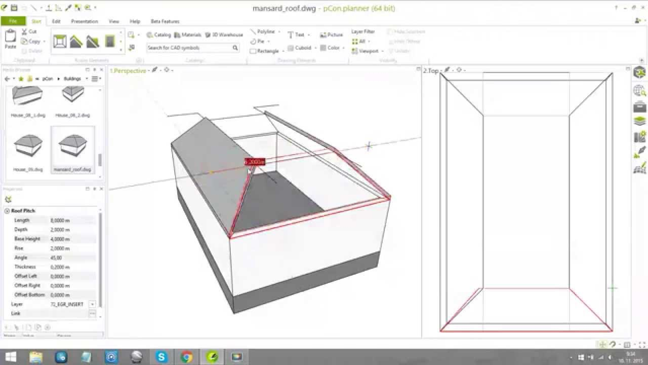 Creating of the mansard roof part 1 in 7 2 Roof drawing software