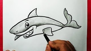 shark drawing line draw easy drawings paintingvalley