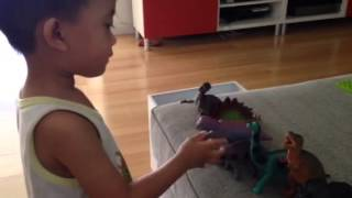 Dinosaurs with Godzilla (by Liam...3-year old)