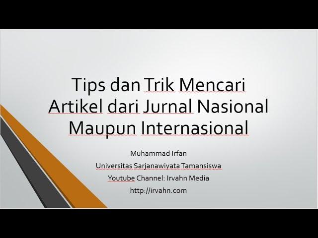 Tips Dan Trik Mencari Artikel Dari Jurnal Nasional Maupun Internasional Youtube