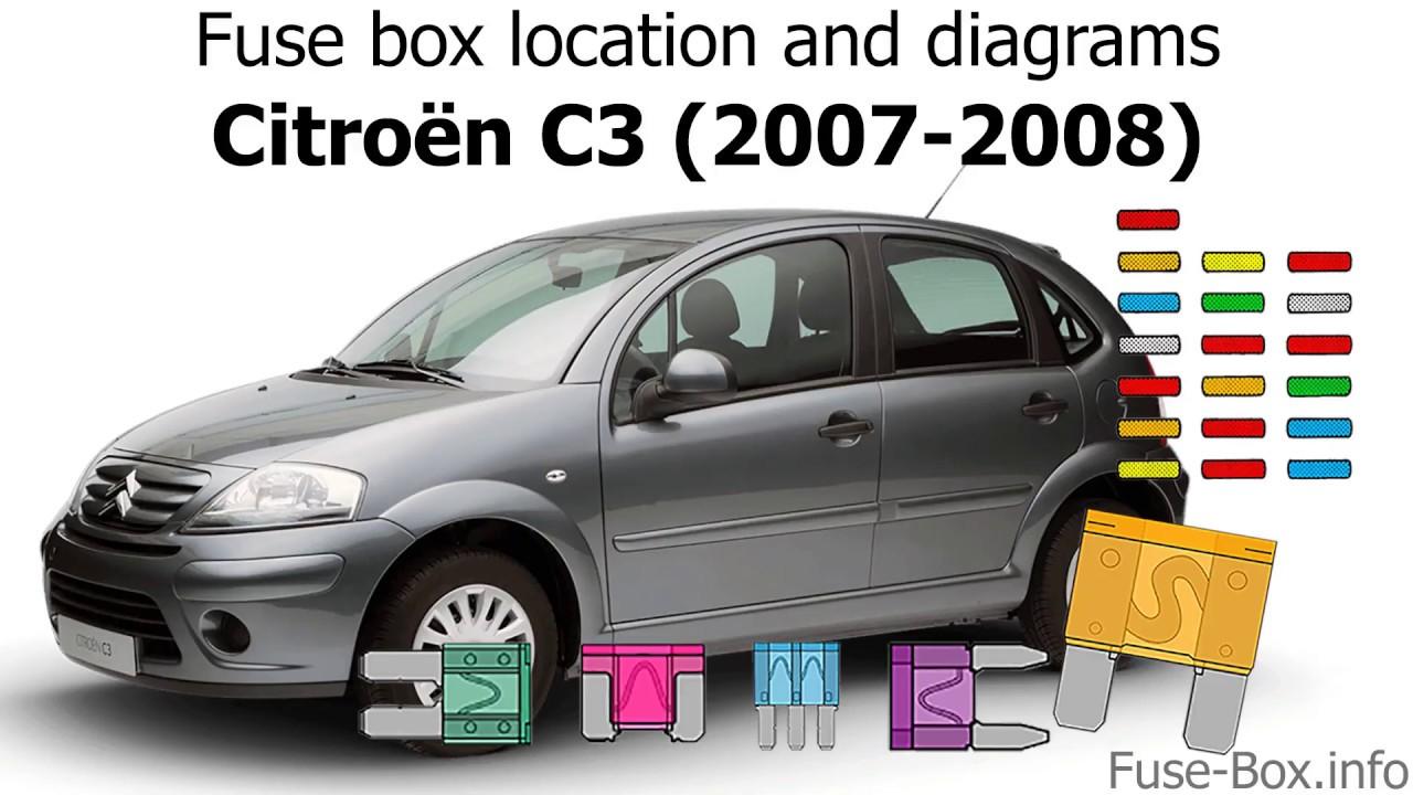 fuse box location and diagrams citroen c3 2007 2008  [ 1280 x 720 Pixel ]