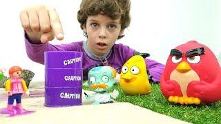 Энгри Бердз победили - Игры для детей с игрушками  из мультиков