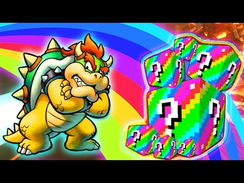 LUCKY RAINBOW BLOCKS BOWSER'S CASTLE MOD CHALLENGE - MINECRAFT MODDED MINI-GAME!