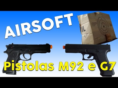Teste das Pistolas de Airsoft Glock G7 KWC Spring e M92