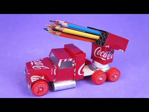 MAKE AN AMAZING TRUCK WITH ALUMINUM CANS TO STORE COLOR PENCILS