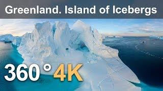 360 video, Greenland. Island of Icebergs. 4K aerial video thumbnail