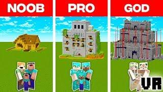 Minecraft Noob Vs. Pro Vs. God Vr Family Zombie Defence Build Challenge In Minecraft Animation