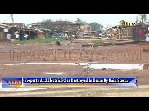 Property and electric poles destroyed in Benin by rain storm