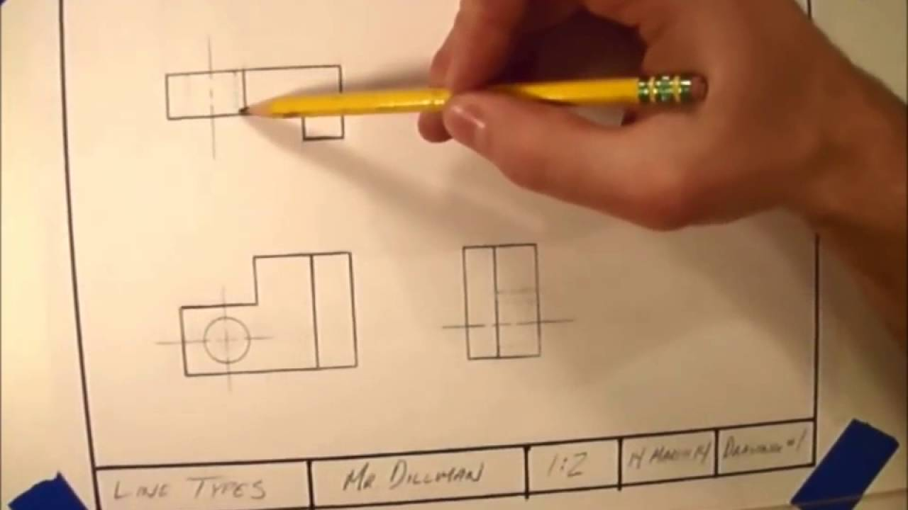 03 Line Types In Technical Drawing Youtube