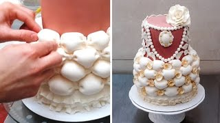 Billowing and ruffles cake by CakesStepbyStep