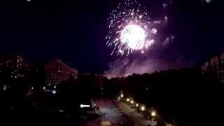Салют на день города Протвино 2014 с высоты 100 метров
