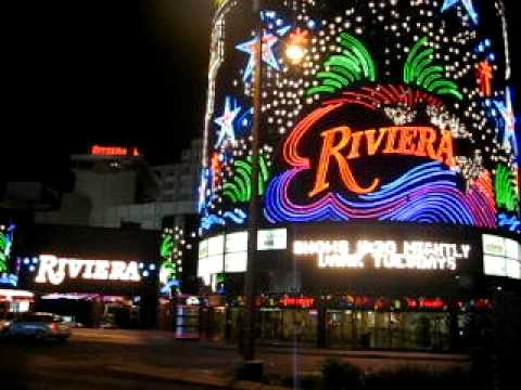 Riviera Hotel and Casino in Las Vegas, NV Nevada on The Strip Neon Lights Sign Entrance