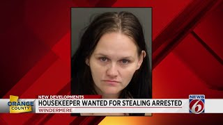 Housekeeper arrested for stealing from home