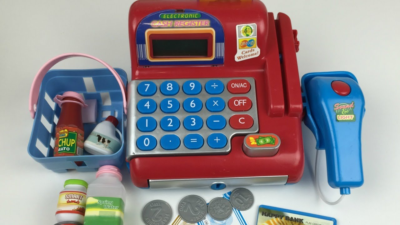 Pretend Toy Money : Toy electronic cash register pretend play with