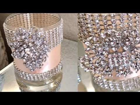 2 QUICK AND EASY BLING AND GLAM CANDLE HOLDERS  | DOLLAR TREE CANDLE HOLDERS | QUICK AND EASY DIY