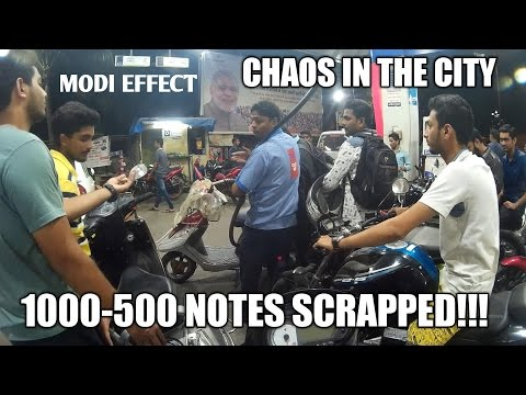 FIGHTS IN CITY   1000-500 notes banned   Modi effect   Night Vlog