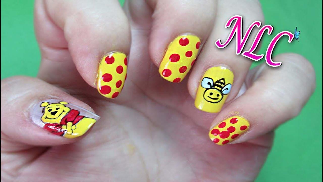 Decoración de uñas winnie the pooh ,Como Pintar A Winnie Pooh , Winnie the Pooh nail art , NLC