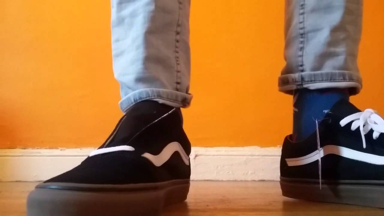 vans ol skool black gum on feet youtube. Black Bedroom Furniture Sets. Home Design Ideas