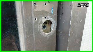 현관 샷시문 보조키 셀프 설치 방법