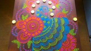 Colorful and unique peacock rangoli for diwali | Innovative rangoli designs by Poonam Borkar