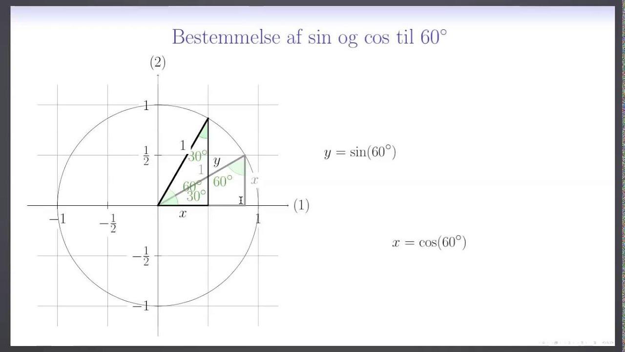 Trigonometri L11 - Eksakt bestemmelse af sin og cos til 60°
