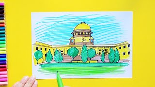 How to draw and color the Supreme Court of India, New Delhi
