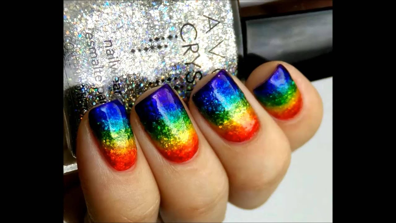 Rainbow glitter nail art with permanent markers - YouTube
