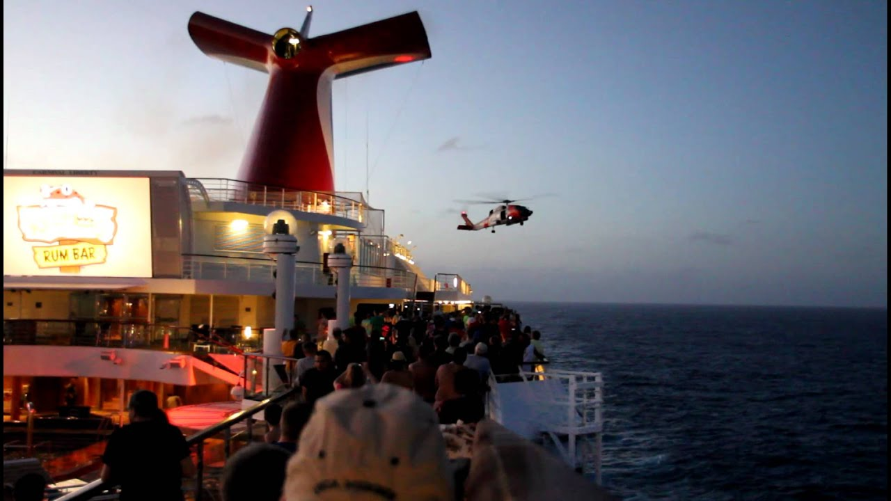 Carnival Liberty Cruise US Coast Guard Helicopter Rescue March - Coast guard cruise ship