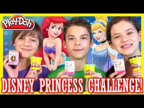 DISNEY PRINCESS PLAY DOH CHALLENGE!  |  ARIEL BELLE CINDERELLA | Kinder Surprise Eggs! | KITTIESMAMA