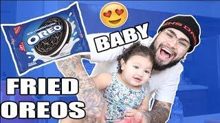BABY MAKES FRIED OREOS!!! 😱 (DIY)
