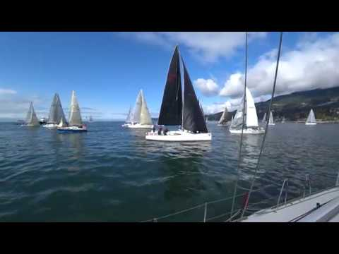 EQUUS Southern Straits 2018 sailing race start, beating upwind spinnaker all night light wind finish