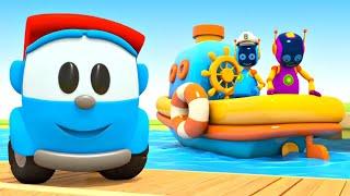 Мультфильмы для малышей. Грузовичок Лева собирает с роботами Катер и Лодку