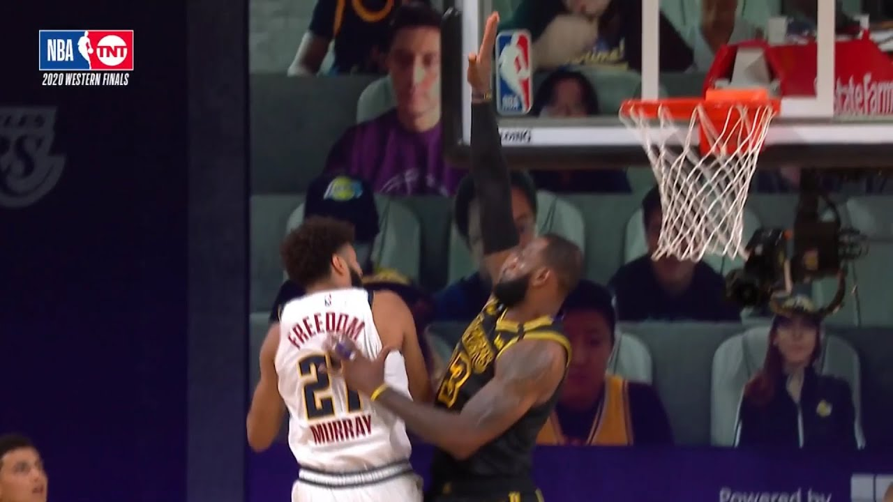 LeBron blocks Jamal Murrays lay in attempt, gets the same treat at the other end by Craig