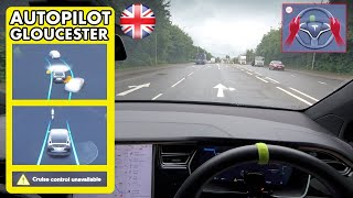 Why did it abort when it saw This Arrow? - Tesla Autopilot in a UK City #8 Gloucester