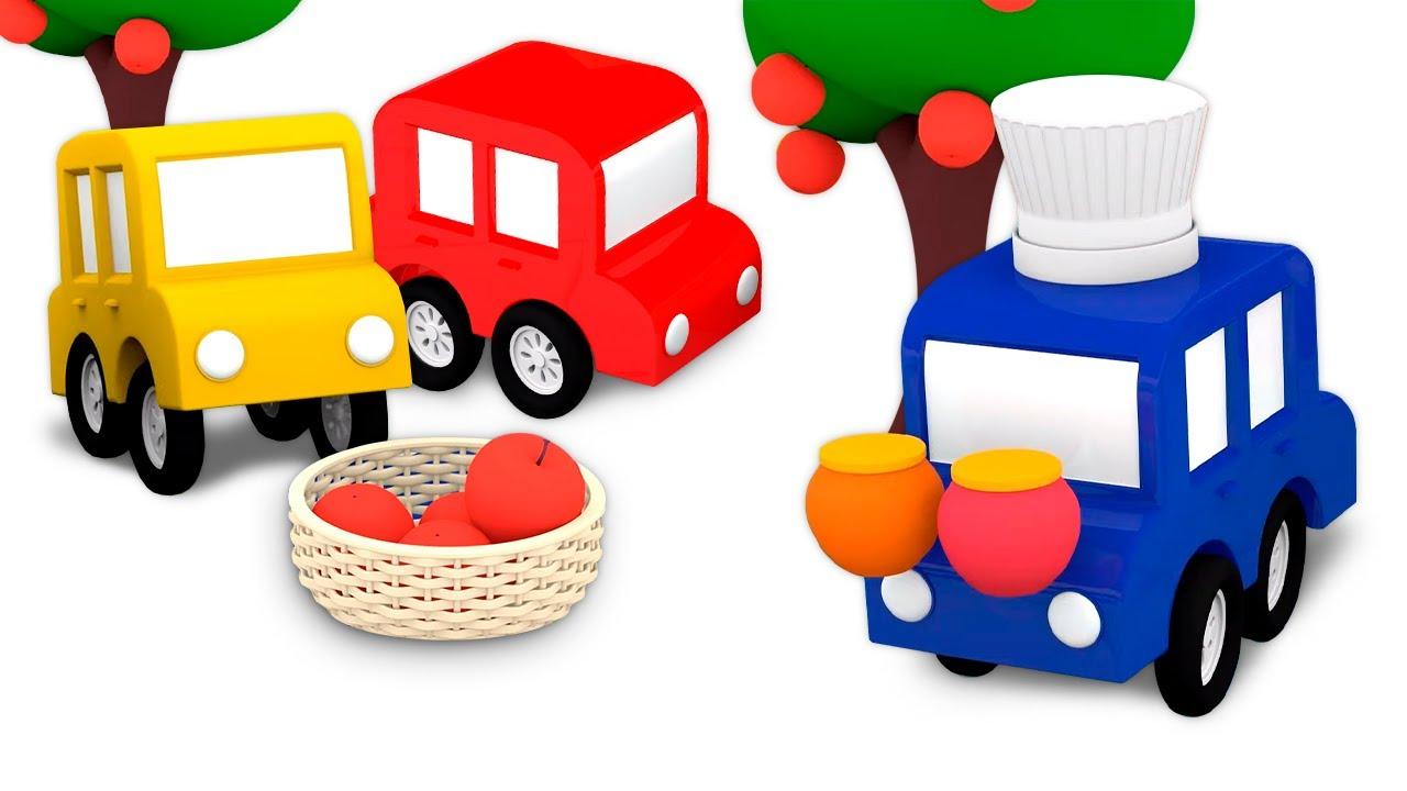 La mermelada del desayuno. 4 coches coloreados. Dibujos animados para niños en español.