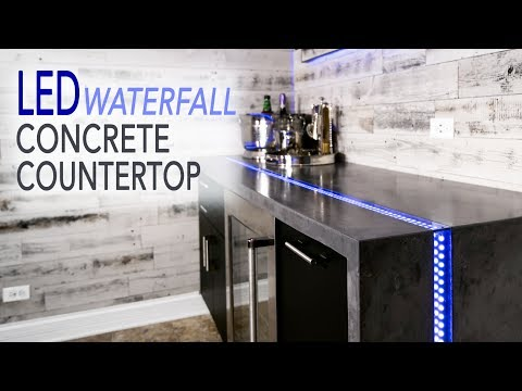 DIY Waterfall Concrete Countertop w/ LED River Inlay || How to make GFRC Countertops
