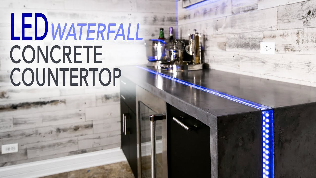 Waterfall Countertop W Led River Inlay From Concrete 11 Steps With Pictures Instructables