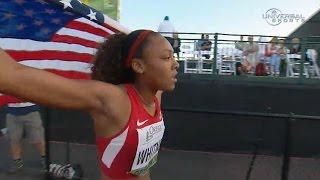Kaylin Whitney wins 200m Junior Champs - Universal Sports