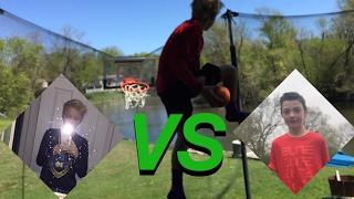 Crazy trampoline basketball dunk contest!!!