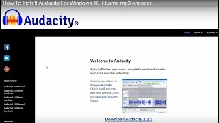 How To Install Audacity For Windows 10 + Lame mp3 encoder