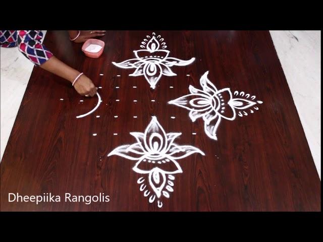 Deepam lotus rangoli with 11 dots for varalakshmi vratham l sravanamasam muggulu l easy  kolam