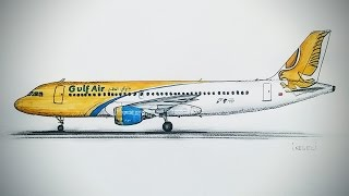 AIRBUS A320, GULF AIR Drawing timelapse