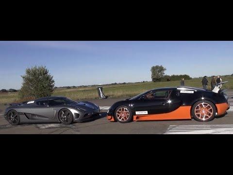 [50p] DRAG RACE Koenigsegg Agera R vs Bugatti Veyron Vitesse NO Launch Control in Agera COLD surface