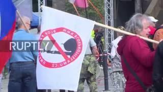 Czech Republic: Pegida UK leader Tommy Robinson addresses anti-Islam protest in Prague