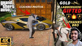 GTA 5 : I GIFTED TECHNO GAMERZ HIS GOLD LAMBORGHINI CAR 😍