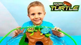 Робочерепашки з басейном для дітей. Огляди іграшок з Даником. Robo Turtle for kids