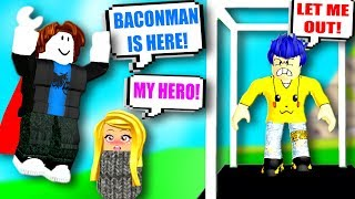ROBLOX BACON SAVES GIRL VON BULLY! BACONMAN! Roblox Admin Befehle | Roblox Lustige Momente!