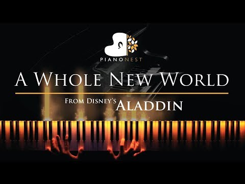 A Whole New World End Title Aladdin - Piano Karaoke  Sing Along Cover